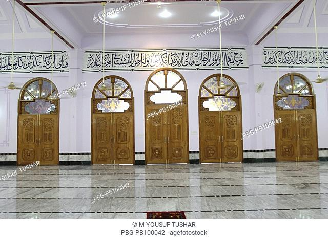 The interior of Baitul Aman Jame Mosque, an example of modern Muslim architecture, about 25 kilometer away from Barishal city It was built in 2004 Barishal