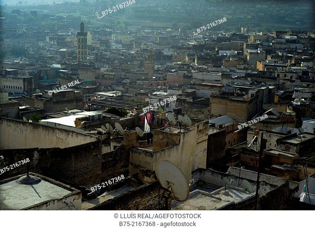 General view of a sunrise in the medina of Fez, Morocco, Africa