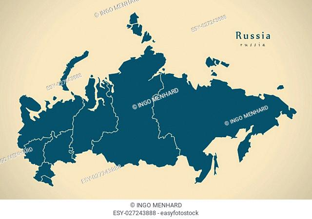 Modern Map - Russia with states RU illustration