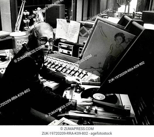 Mar. 4, 1975 - London, England, U.K. - Pop superstar ELTON JOHN working as a Radio One disc jockey at Broadcasting House, a long-standing dream of his