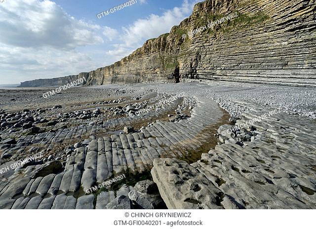 Rocky Coastline Cliffs At Lowtide