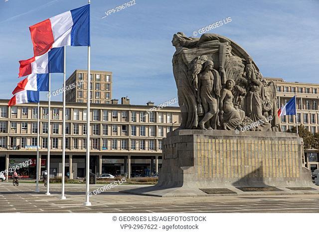 War memorial. Place General de Gaulle, Le Havre, Normandy, France