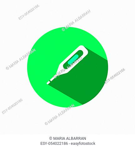 Digital thermometer icon with shadow on a green circle. Flat color vector pharmacy illustration