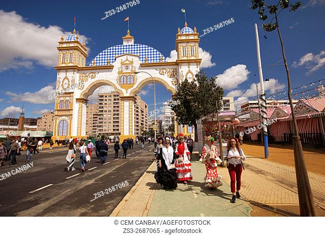 Scene from the April Fair-Feria de Abril with the entrance-door at the background, Seville, Andalusia, Spain, Europe