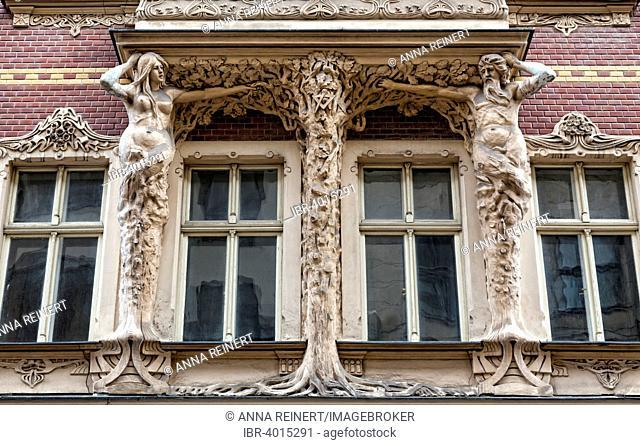 Art Nouveau facade in the old town Vecriga, Riga, Latvia