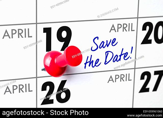 Wall calendar with a red pin - April 19