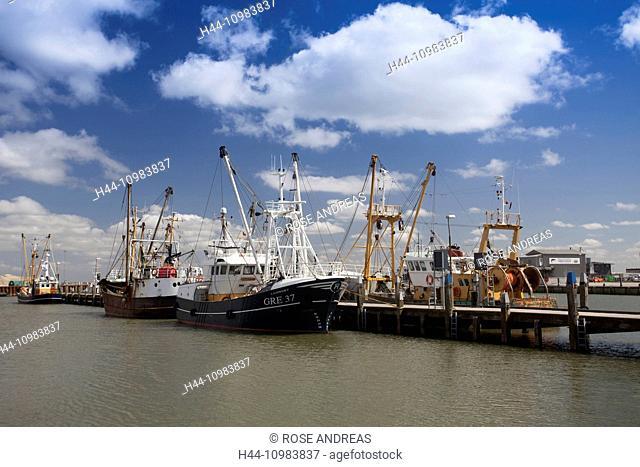Fishing ships in the fishing port of Römö, Jutland