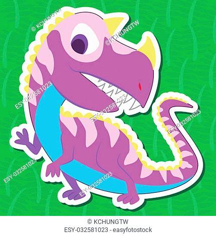 a cute dinosaur sticker with Ceratosaurus