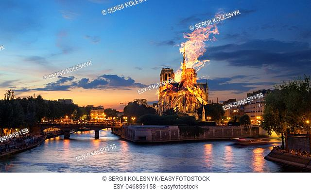 Fire at the Notre Dame Cathedral. Paris, France. Digital composite