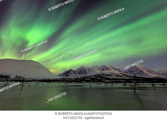 Aurora Borealis on the frozen lagoon of Jaegervatnet Stortind. Lyngen Alps Tromsø Lapland Norway Europe