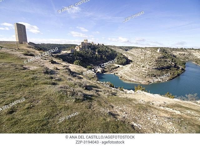 Panoramic view of the town of Alarcon with the Castle of Altas Torres and the Reservoir Cuenca Castile La Mancha Spain