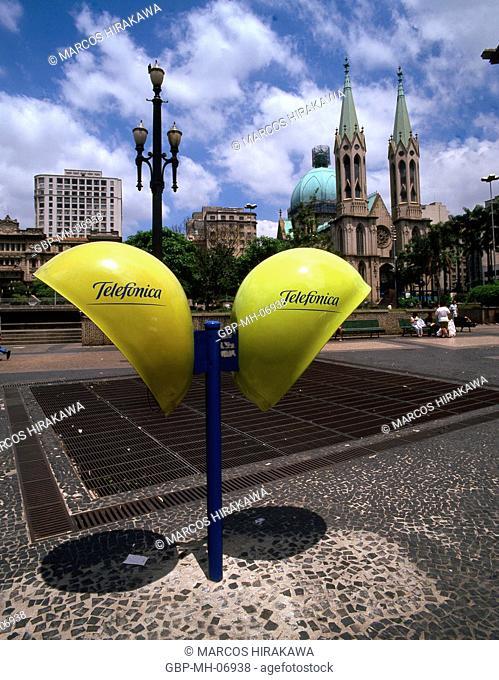 public phone, Cathedral Square, Sao Paulo, Brazil