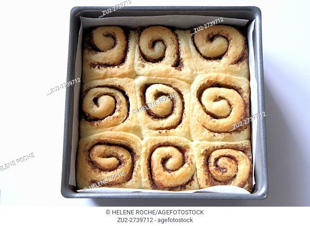 Cinnamon rolls in cake tin