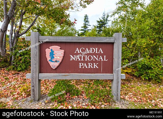 Acadia National Park Sign on Mount Desert Island, Maine