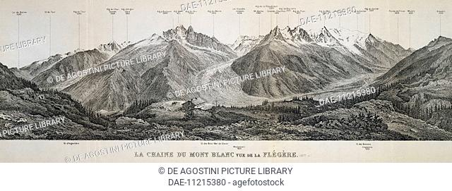 Mont Blanc massif mountain range, engraving. France, 20th century