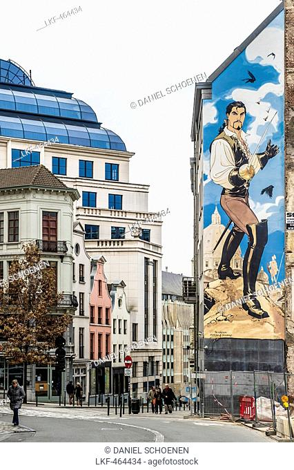 Facade with comic painting, Brussels, Belgium