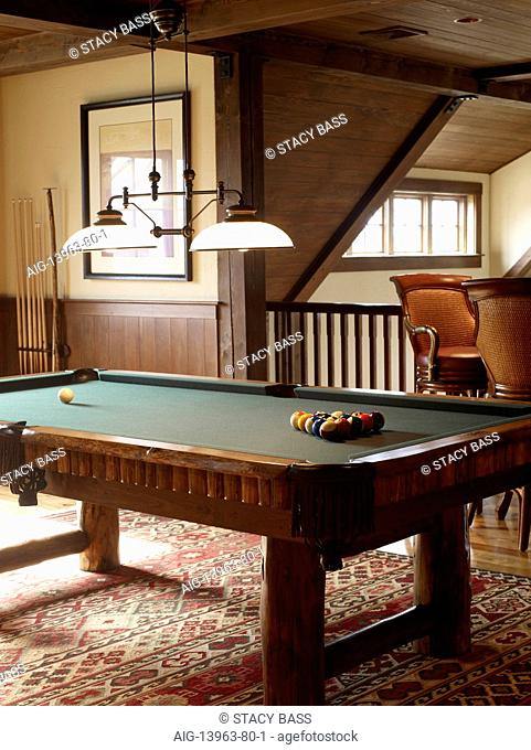 Games room with pool table, USA