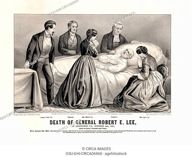 Death of General Robert E. Lee, at Lexington, VA., October 12th, 1870, Lithograph, Published by Currier & Ives, 1870