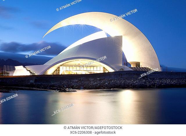 night view of Music Hall in Santa Cruz de Tenerife