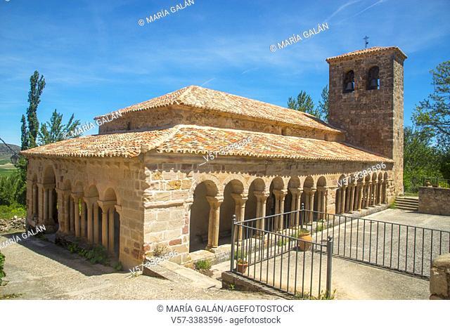 Facade of El Salvador church. Carabias, Guadalajara province, Castilla La Mancha, Spain