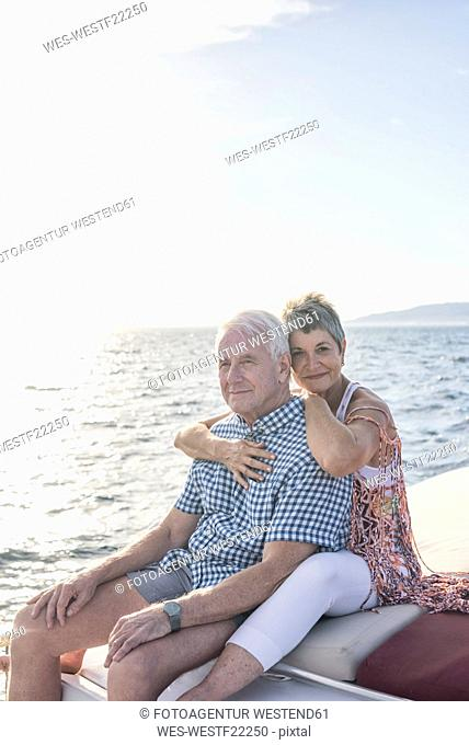 Affectionate couple on a boat trip