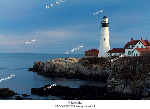 Photo of Portland Head Light on cloudy day