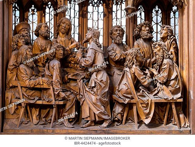 Last Supper, The Holy Blood Altar by Tilman Riemenschneider, Jacob's Church, Church of St. Jakob, Rothenburg ob der Tauber, Middle Franconia, Franconia, Bavaria