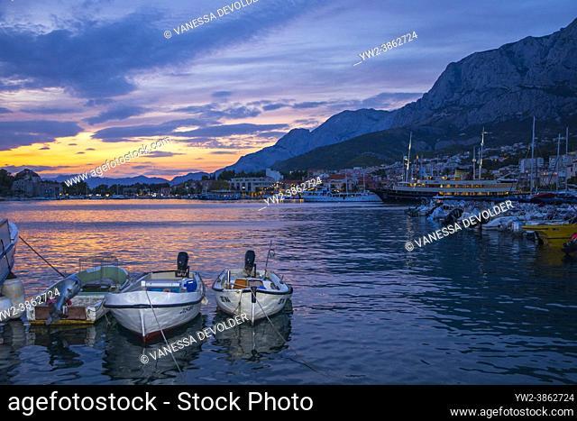 Boats in the harbour of Makarska in the evening. Split-Dalmatia, Croatia, Europe