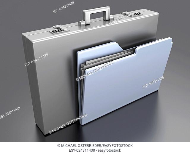 A Briefacse with a Folder. 3D rendered Illustration