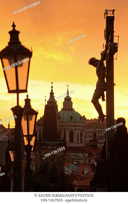 Charles Bridge, Mala Strana tower and Saint Nicholas Church, Prague, Czech Republic