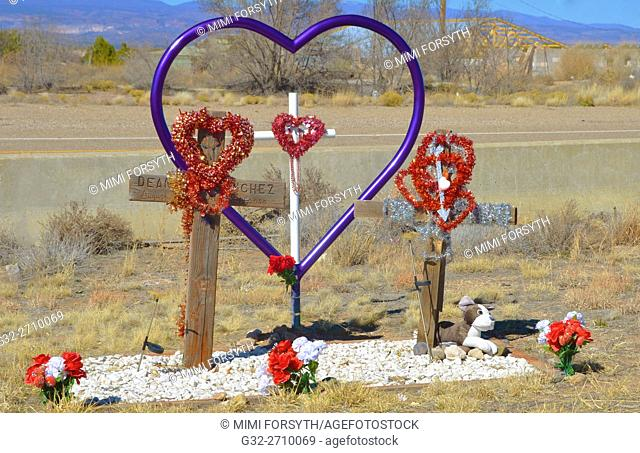 roadside memorial to automobile accident victim. New Mexico