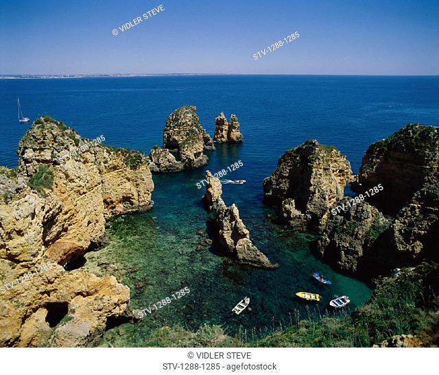 Algarve, Beach, Boating, Boats, Holiday, Horizons, Lagos, Landmark, Piedade, Ponta, Portugal, Europe, Rocks, Tourism, Travel, Va