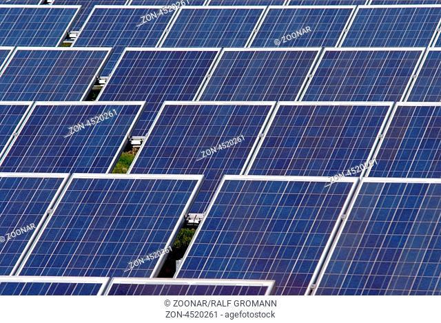Solarmodule auf einem Solarpark zur nachhaltigen und regenerativen Energiegewinnung durch Photovoltaik