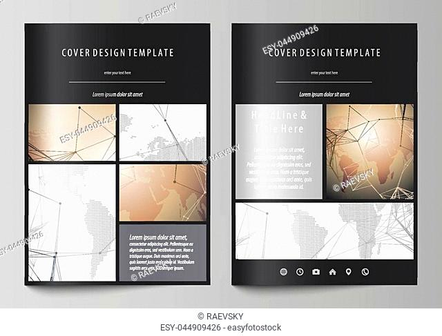 The black colored vector illustration of the editable layout of A4 format covers design templates for brochure, magazine, flyer, booklet