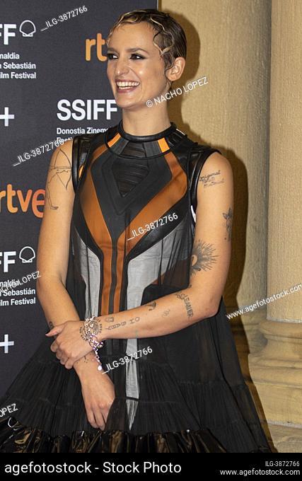 Agathe Rousselle attends to 'Titane' premiere during the 69th San Sebastian International Film Festival at Victoria Eugenia September 18, 2021 in San Sebastian