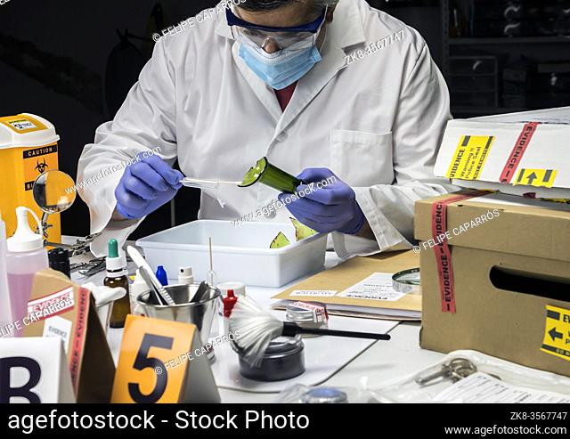 Police expert gets blood sample from glass bottle in Criminalistic Lab