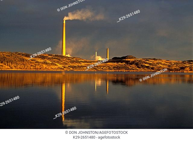 Vale Superstack reflected in Kelly Lake, Greater Sudbury, Ontario, Canada