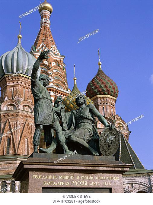 Basils, Cathedral, Holiday, Landmark, Minin, Monument, Moscow, Poznarsky, Red square, Russia, Tourism, Travel, Vacation