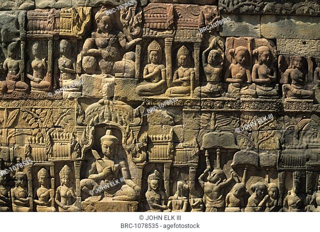 Asia, Cambodia, Temples of Angkor, Angkor Thom, Terrace of the Leper King, bas,relief, Cambodia, Asia