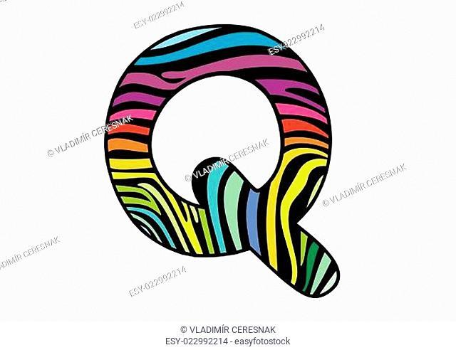 Background skin zebra shaped letter Q