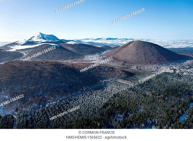 France, Puy de Dome, Regional Natural Park of the Volcanoes of Auvergne, Orcines, Puy de Come and Puy de Dome in the background (aerial view)