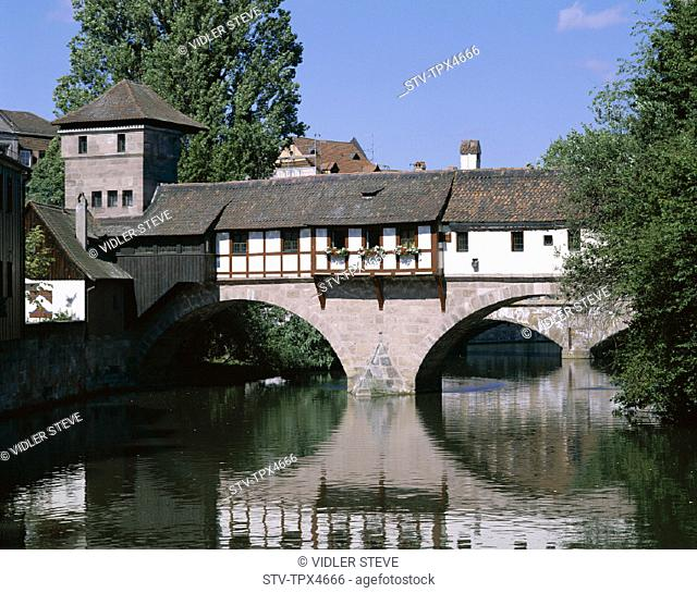 Bavaria, Bridge, Franconia, Germany, Europe, Holiday, Landmark, Little, Nuremberg, Pegnitz, River, Tourism, Travel, Vacation