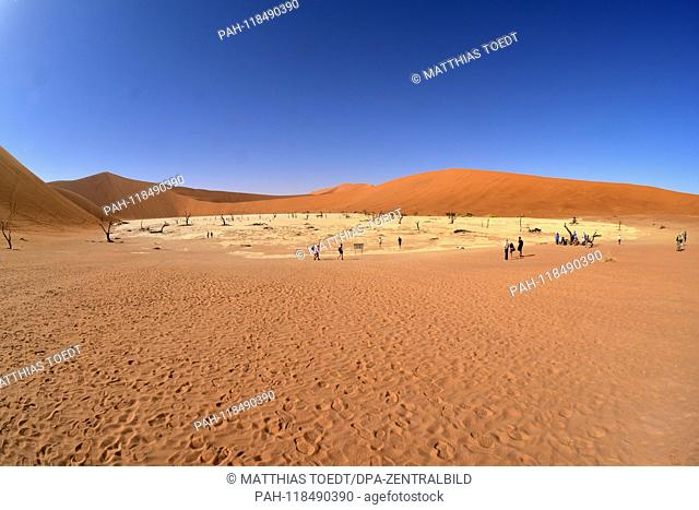 View from the access duene to the Dead Vlei with the surrounding dune, taken on 01.03.2019. The Dead Vlei is a dry, surrounded by tall dune clay pan with...