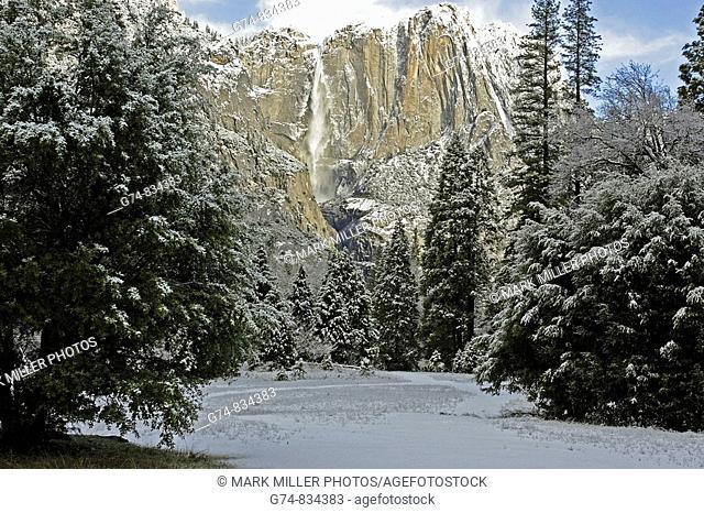 Yosemite Falls with snow, Yosemite National Park, USA