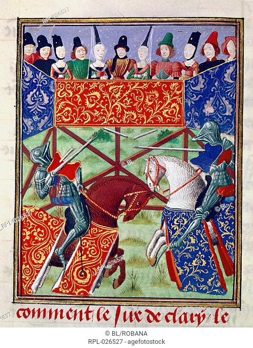 French knights jousting, Miniature Joust between Pierre de Courtenay and the Sire de Clary Image taken from Froissart's Chronicles Volume IV, part 1