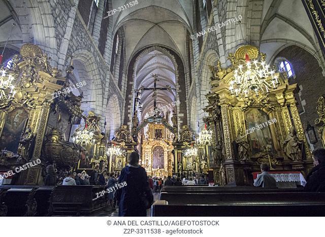 KRAKOW POLAND ON SEPTEMBER 23, 2018: Corpus Christi church interior in Krakow Poland