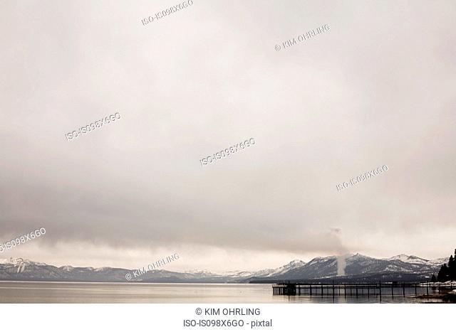 Mountains and jetty, Lake Tahoe, California, USA