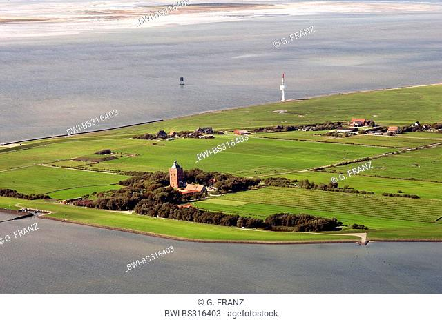 aerial view to Neuwerk island in the North Sea, Germany, Hamburgisches Wattenmeer National Park