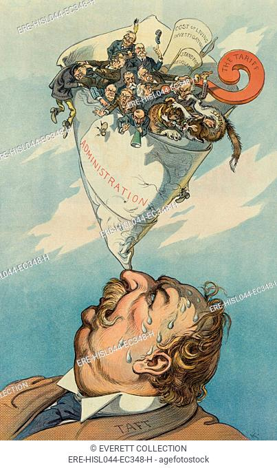 Political cartoon of President Taft balancing a paper cone containing Republican factional splits. A TICKLISH FEAT, in Puck Magazine, Aug. 31, 1910