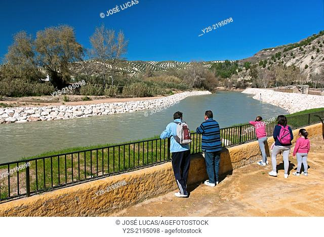 Genil river and tourists, Jauja, Cordoba-province, Region of Andalusia, Spain, Europe